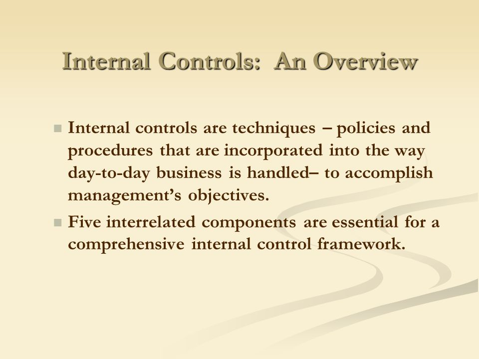 which must the internal controls accomplish for the business to survive Which must the internal controls accomplish for the business to survive businesses need to safeguard assets to survive if this is not done, assets may slip away which is ultimately throwing away resources.