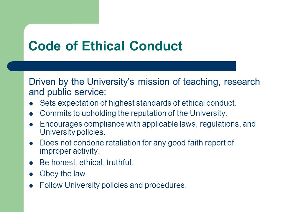 Ethical And Conduct Standards Property Management