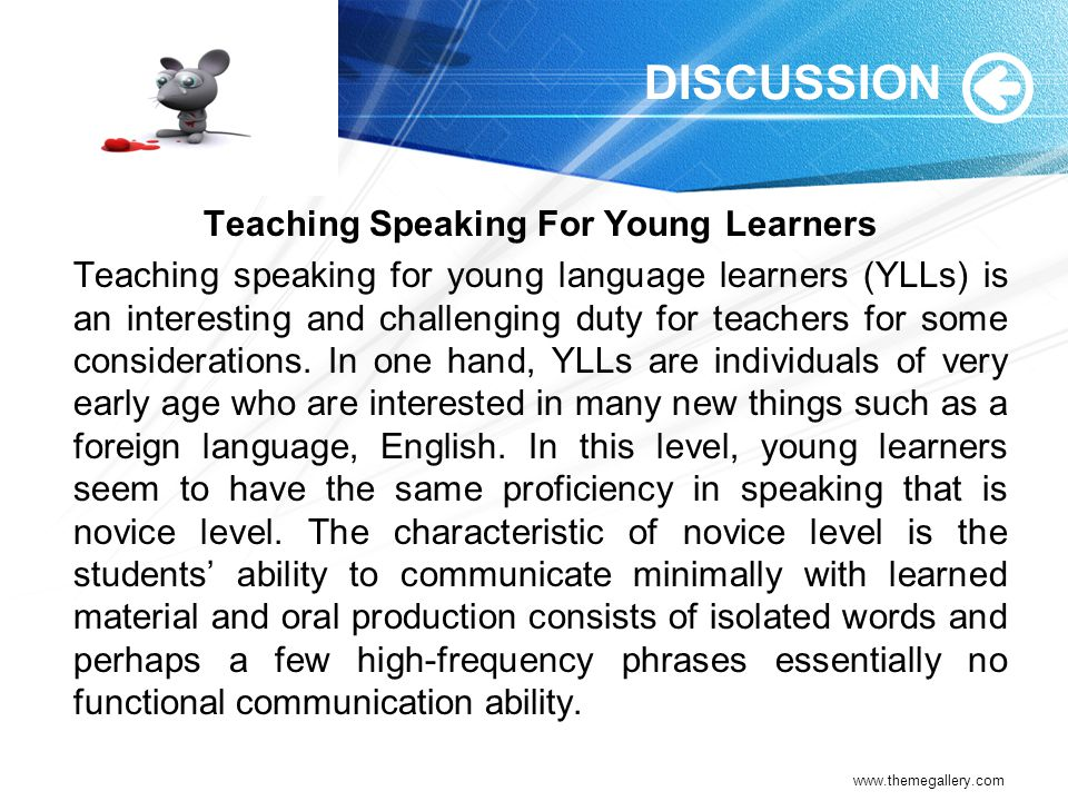Teaching Speaking For Young Learners