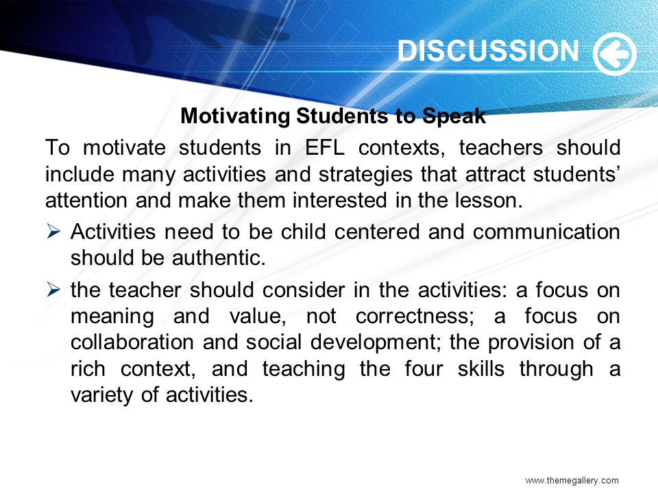 Motivating Students to Speak