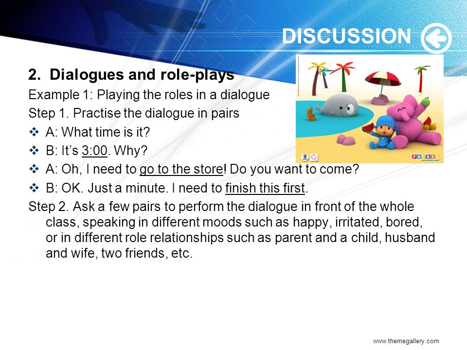 DISCUSSION 2. Dialogues and role-plays
