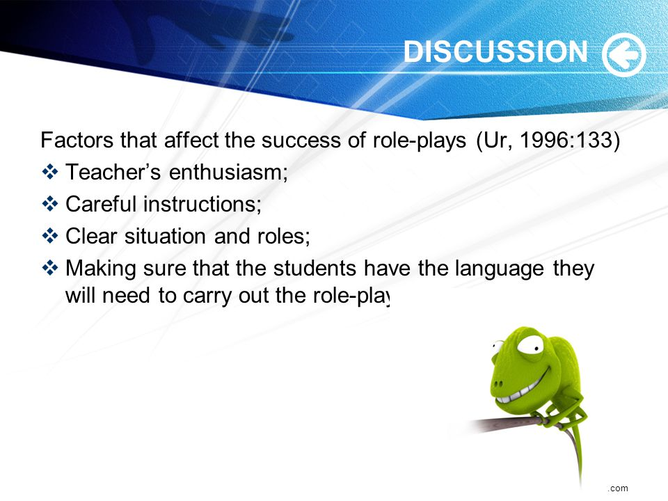 DISCUSSION Factors that affect the success of role-plays (Ur, 1996:133) Teacher's enthusiasm; Careful instructions;