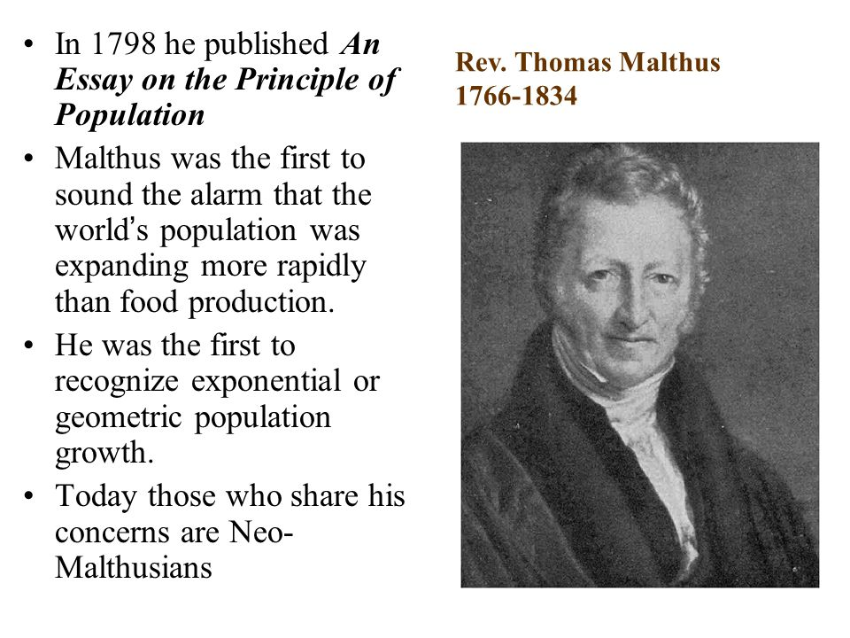 thomas malthus first essay on population