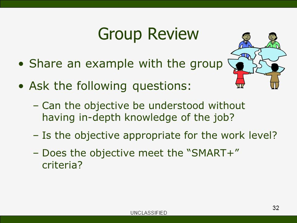 group review share an example with the group - An Example Of Objective