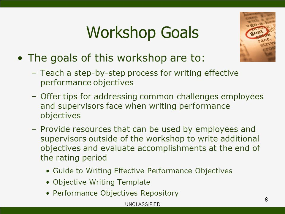 Train the trainer session workshops for writing effective for Performance objective template