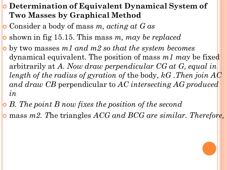 Determination of Equivalent Dynamical System of Two Masses by Graphical Method