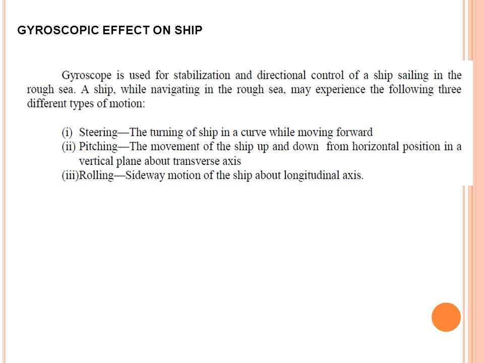 GYROSCOPIC EFFECT ON SHIP
