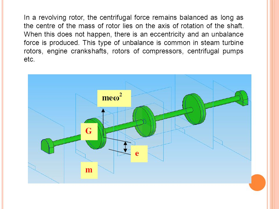 In a revolving rotor, the centrifugal force remains balanced as long as the centre of the mass of rotor lies on the axis of rotation of the shaft.