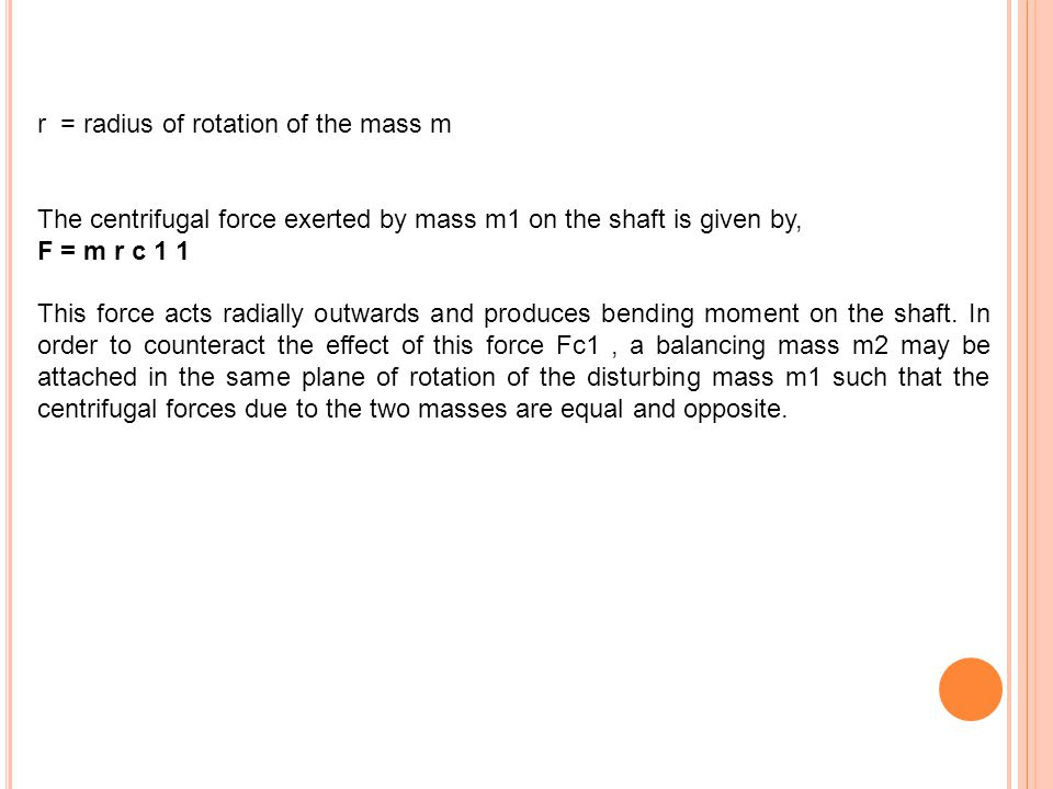 r = radius of rotation of the mass m