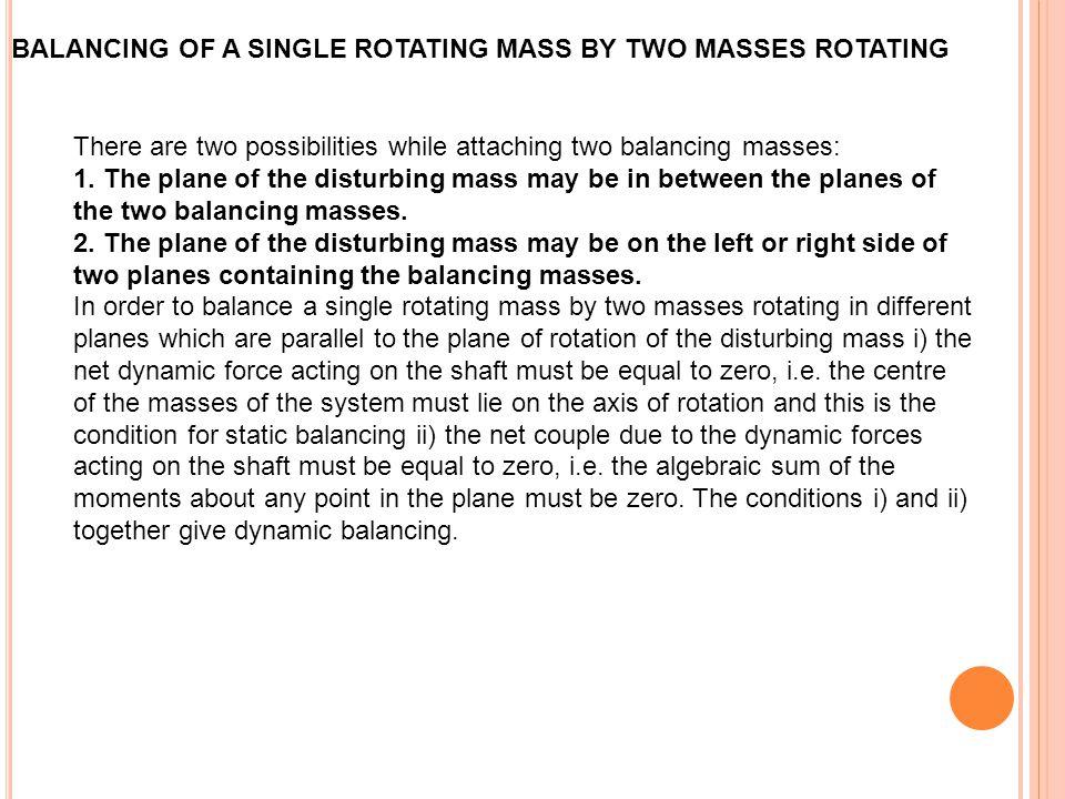 BALANCING OF A SINGLE ROTATING MASS BY TWO MASSES ROTATING