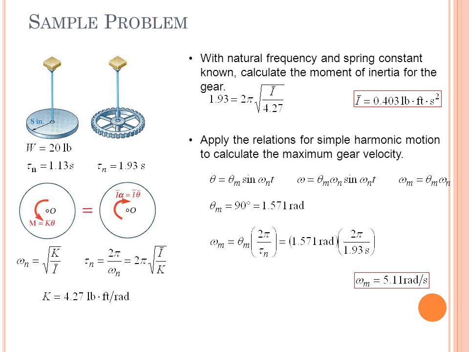 Sample Problem With natural frequency and spring constant known, calculate the moment of inertia for the gear.