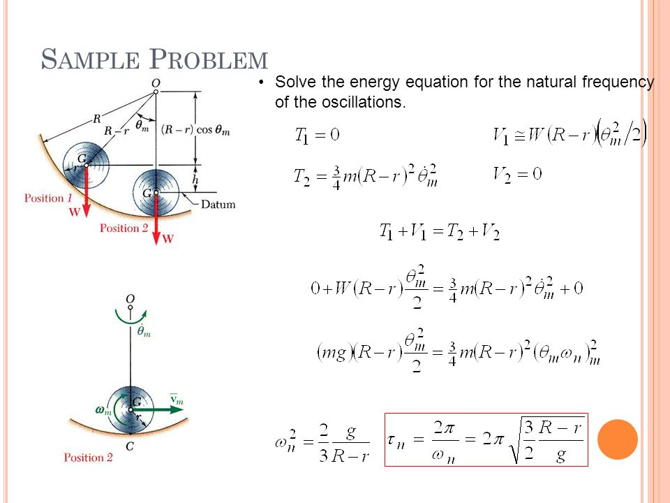 Sample Problem Solve the energy equation for the natural frequency of the oscillations.