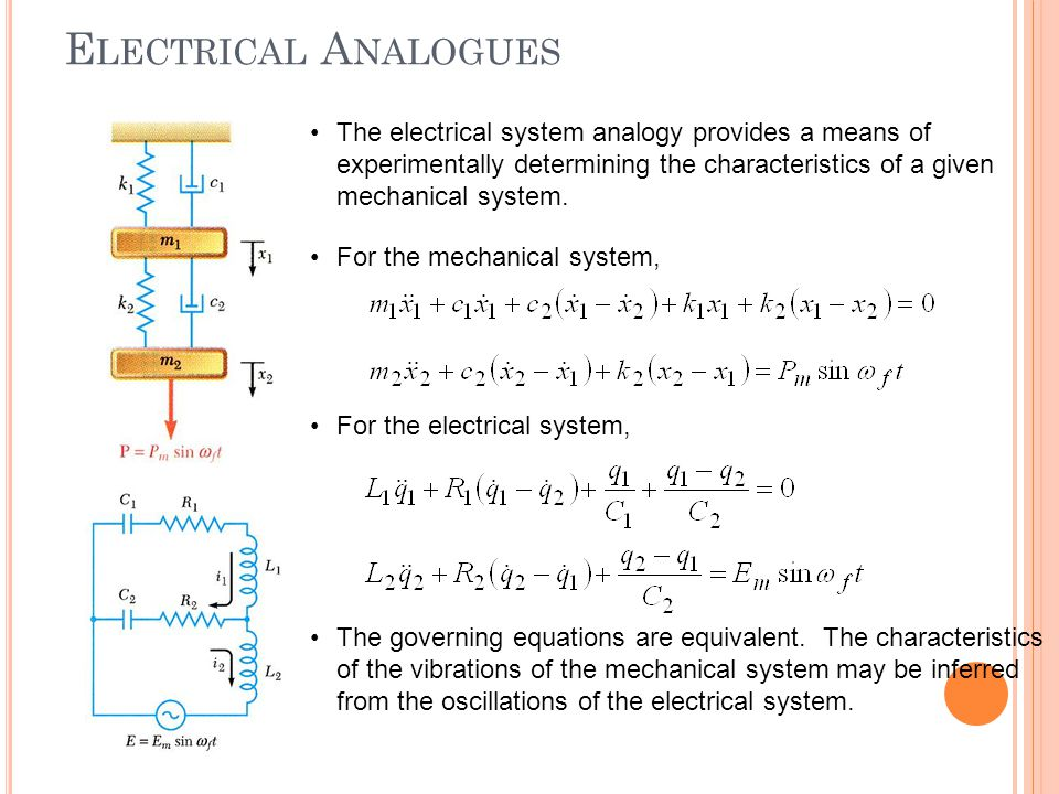 Electrical Analogues The electrical system analogy provides a means of experimentally determining the characteristics of a given mechanical system.