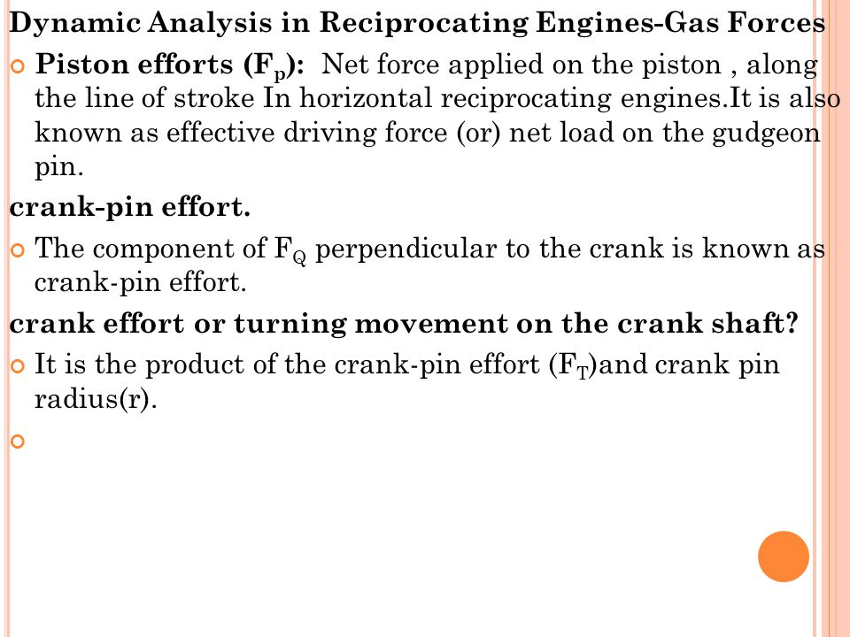 Dynamic Analysis in Reciprocating Engines-Gas Forces