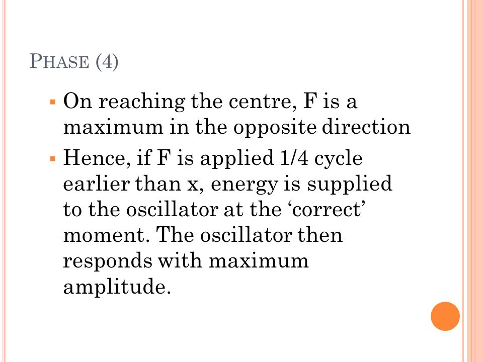 On reaching the centre, F is a maximum in the opposite direction