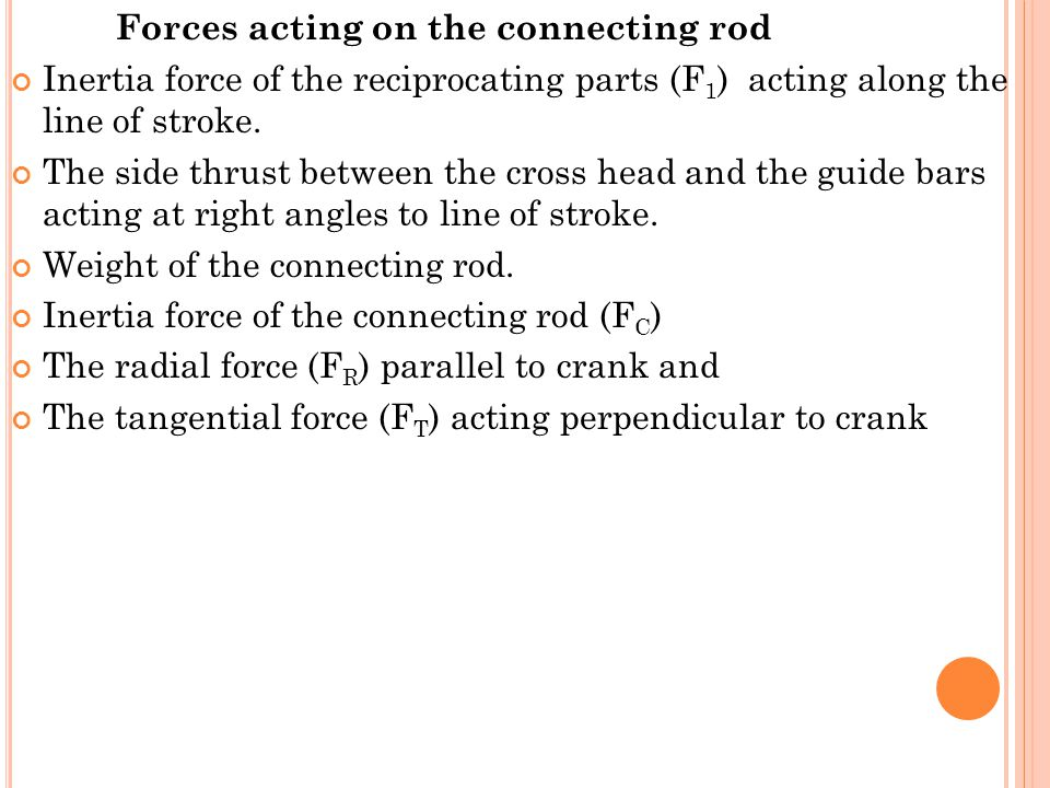 Forces acting on the connecting rod