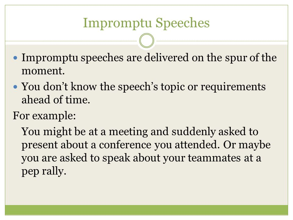 Impromptu speech examples
