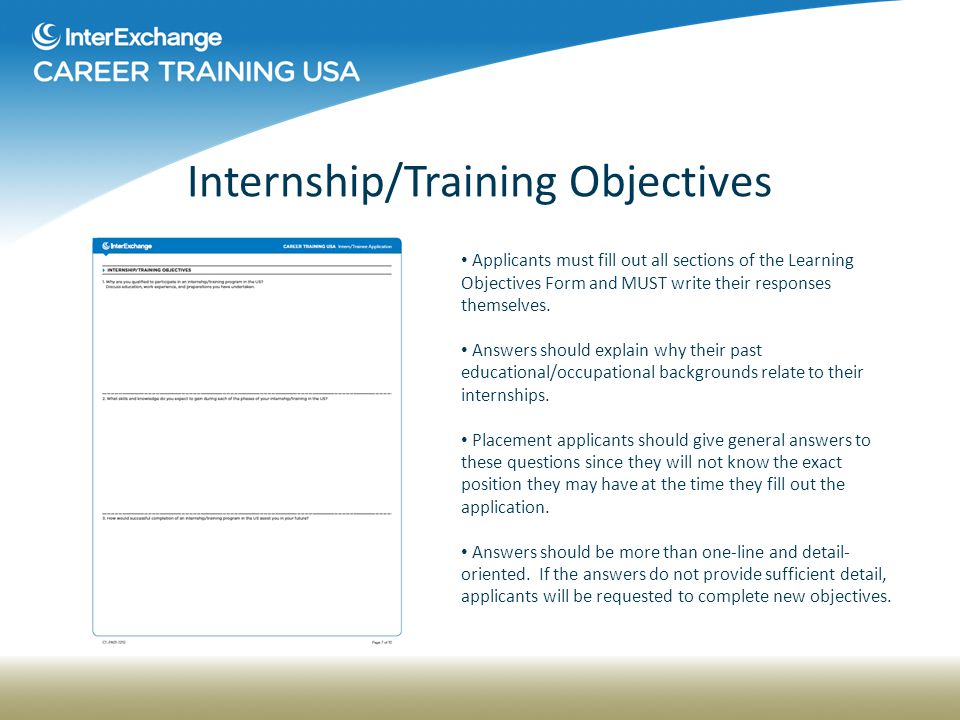 Interexchange Career Training Application Guidelines Ppt