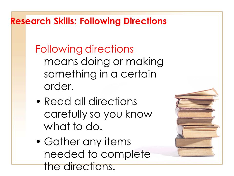 Research Skills: Following Directions