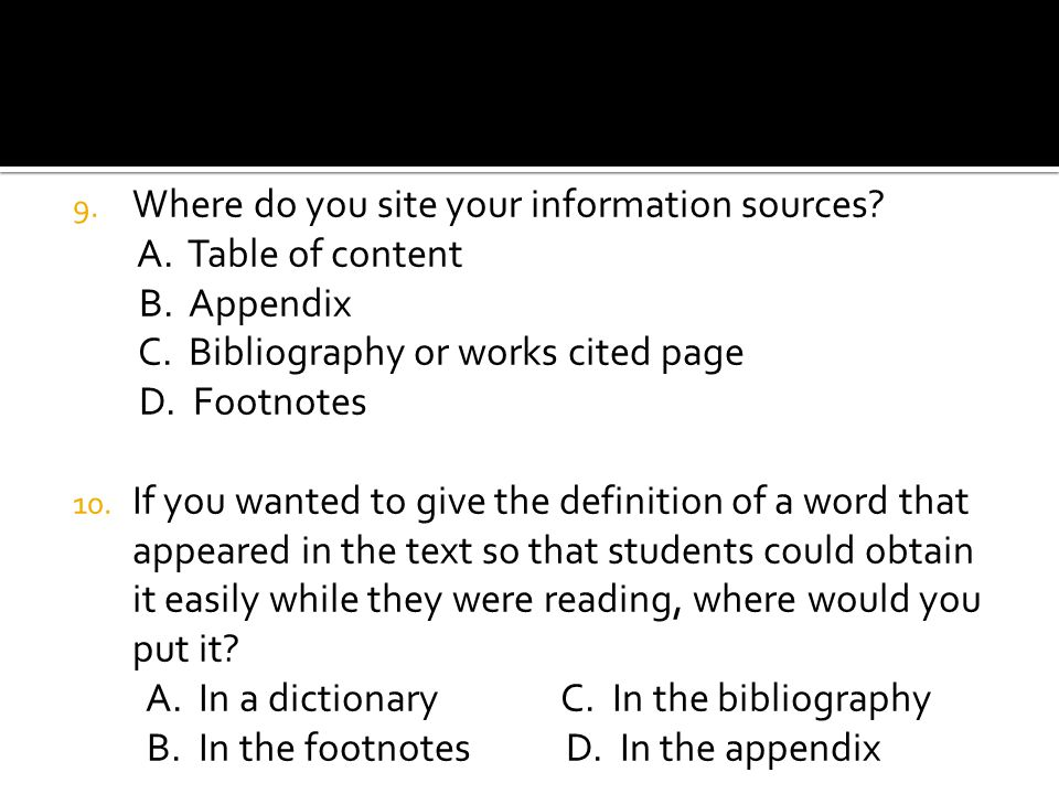 Where do you site your information sources