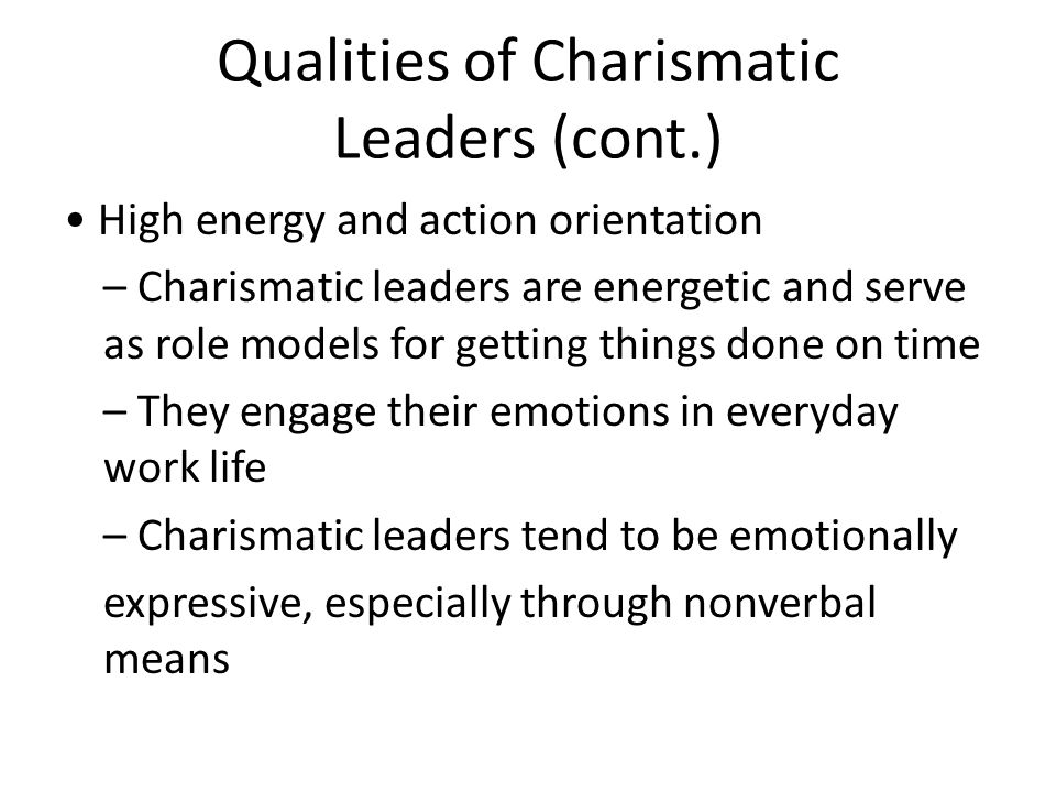 characteristic of charismatic leadership The four major characteristics of transformational leadership are 1 application of charismatic vision leadership: characteristics and.