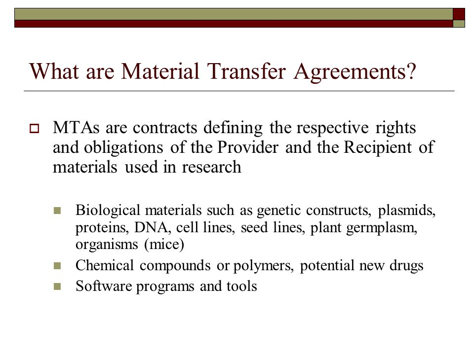 Transfer Agreements What Are Material Transfer Agreements Material