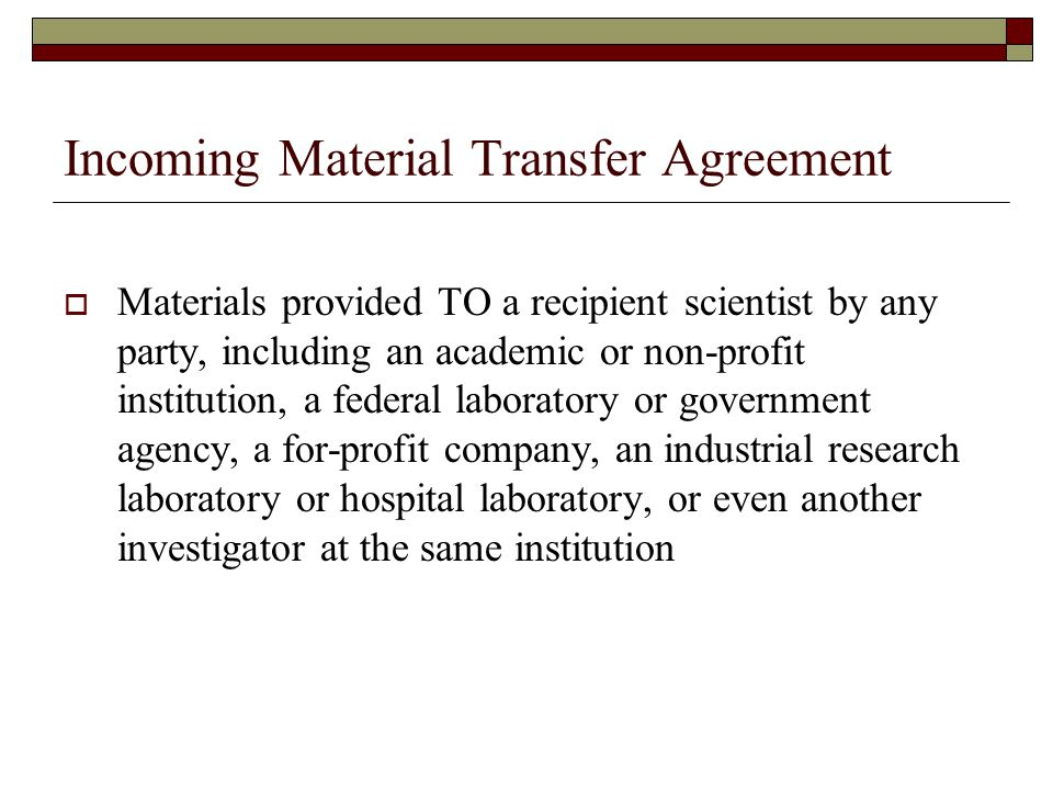Material Transfer Agreements - Ppt Download