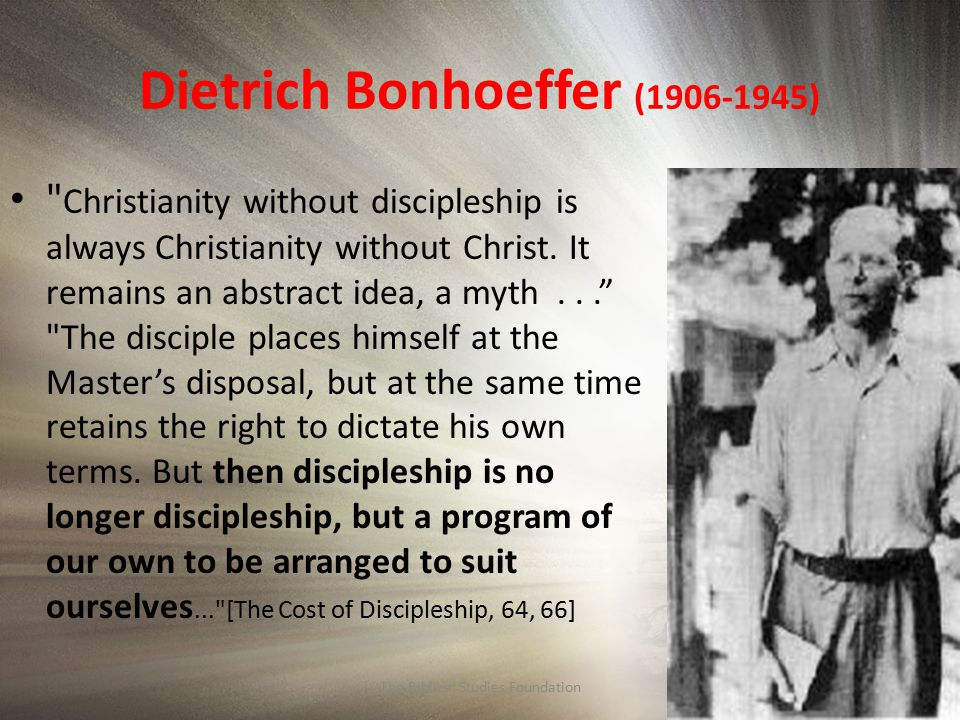 the cost of discipleship bonhoeffer dietrich The cost of discipleship s eventy years ago, on april 9, 1945, during the last weeks of world war ii, renowned lutheran theologian dietrich bonhoeffer was executed at the flossenbürg concentration camp in germany.