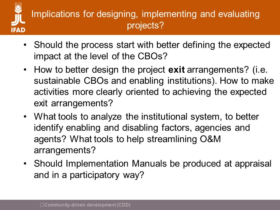 Implications for designing, implementing and evaluating projects