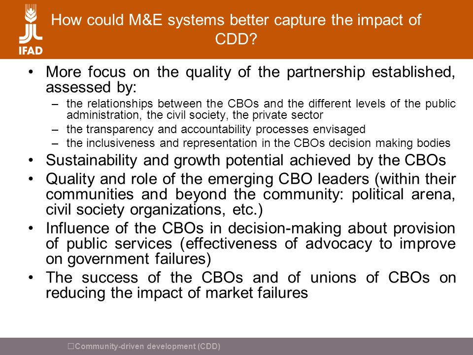 How could M&E systems better capture the impact of CDD