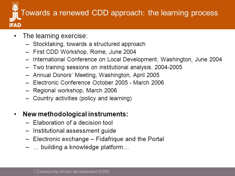 Towards a renewed CDD approach: the learning process