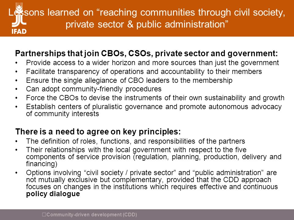 Lessons learned on reaching communities through civil society, private sector & public administration