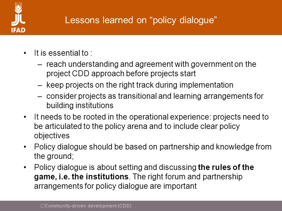 Lessons learned on policy dialogue