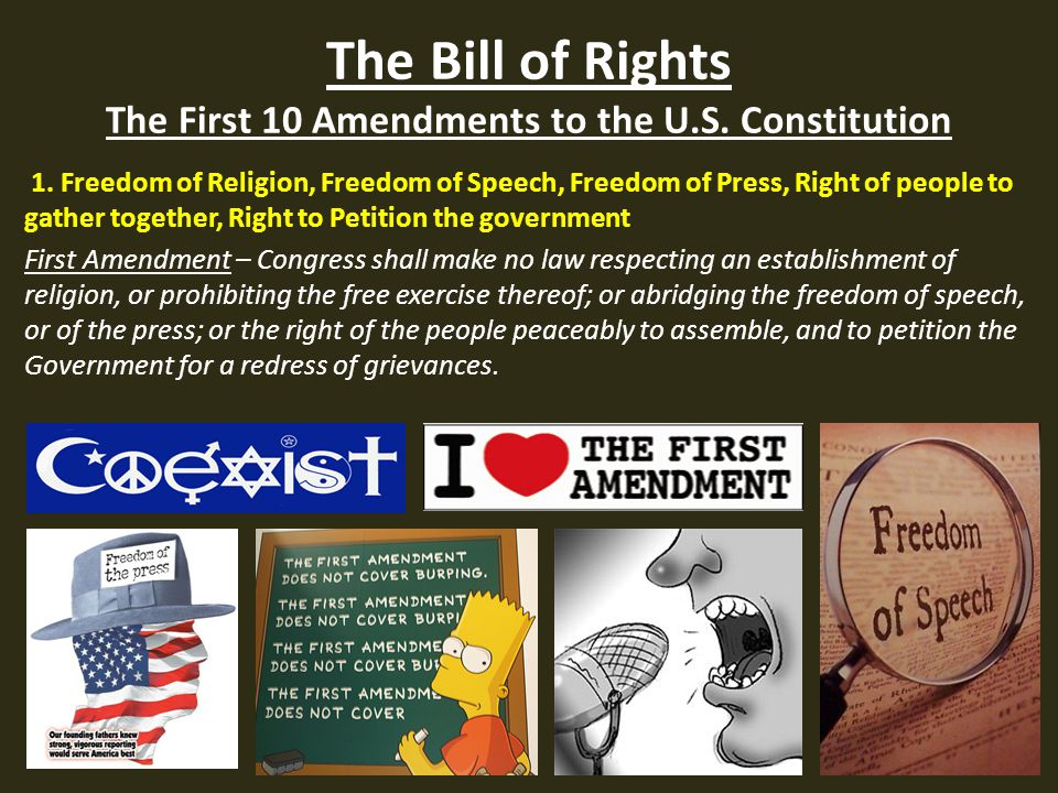 the 1st amendment the bill of The first and second amendments protect freedom  the first & second amendments the first amendment is widely considered to be the most important part of the bill.
