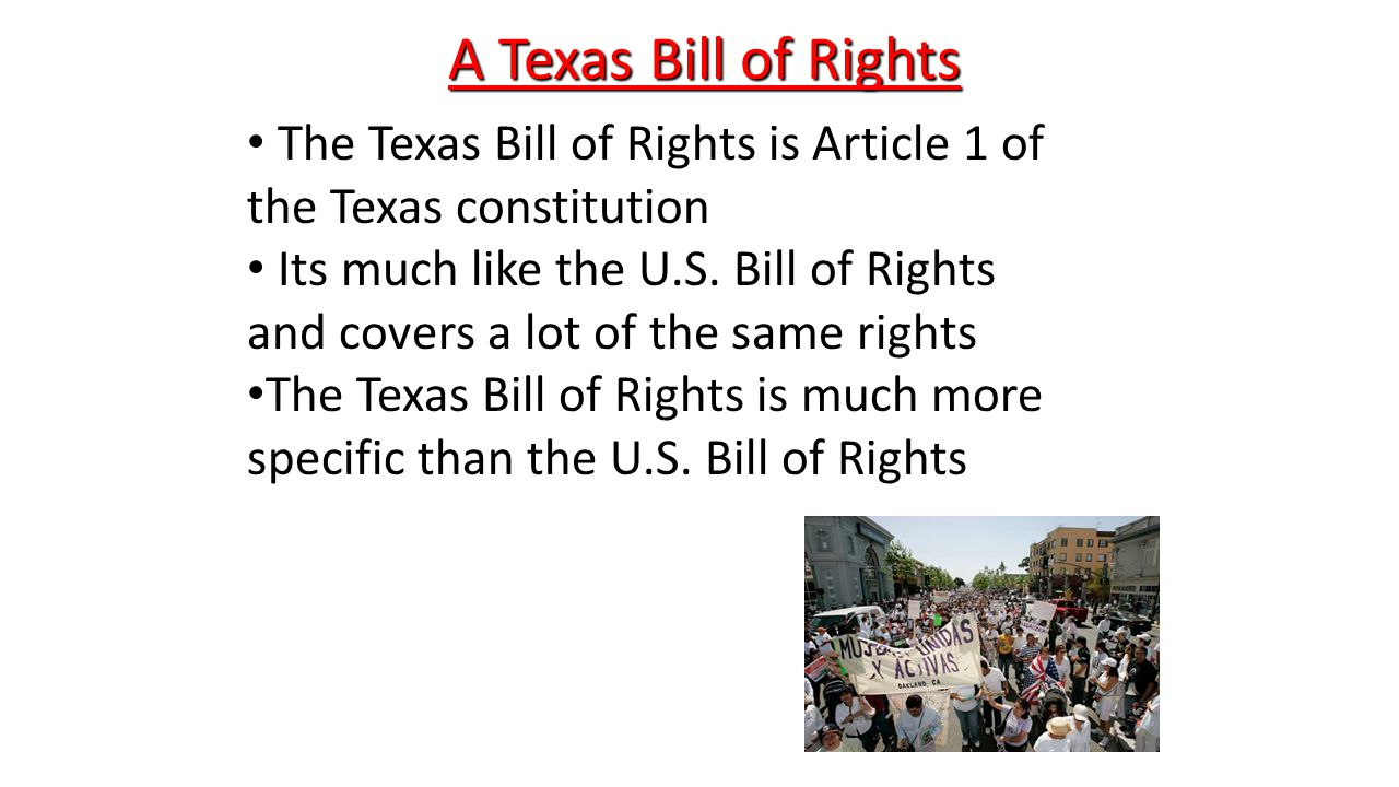bill of rights of the constitution The texas constitution article 1 bill of rights that the general, great and essential principles of liberty and free government may be recognized and established, we declare:.