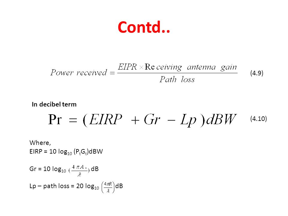 Contd.. (4.9) In decibel term (4.10) Where, EIRP = 10 log10 (PtGt)dBW