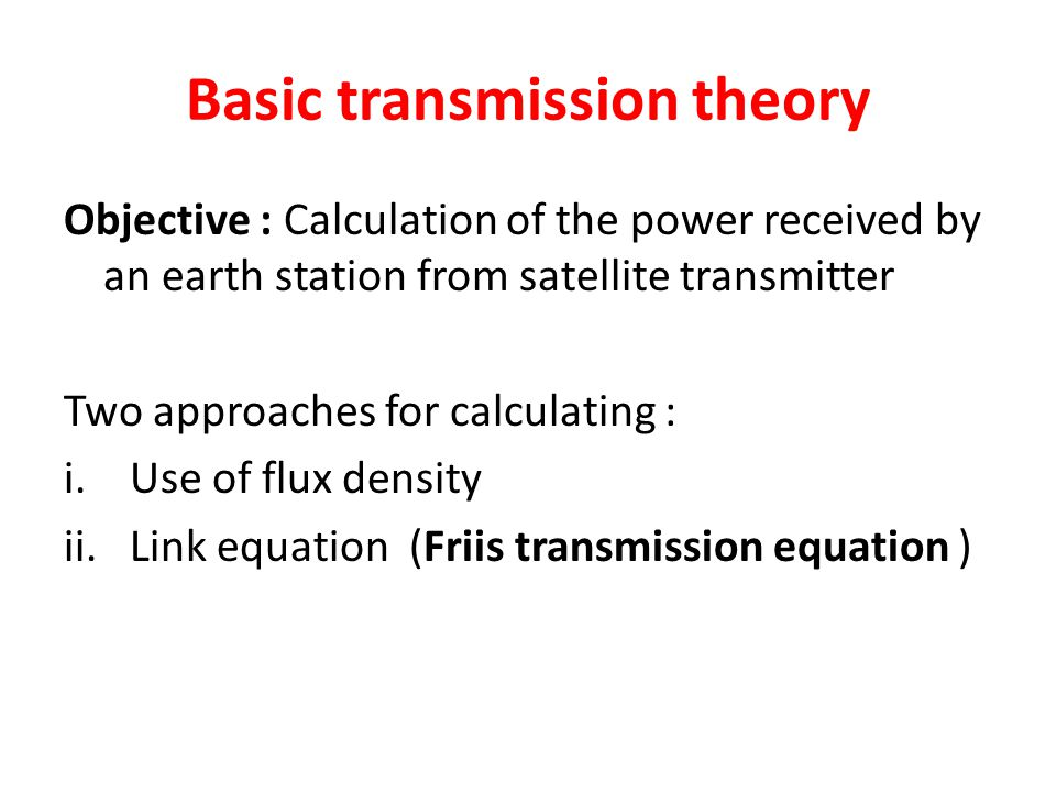 Basic transmission theory