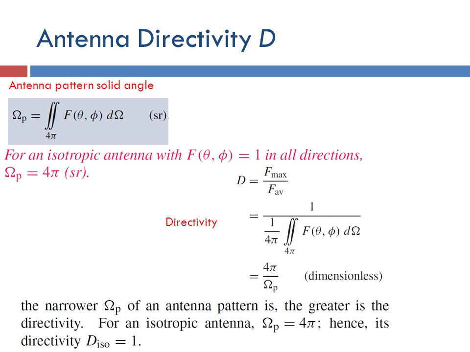 Antenna Directivity D Antenna pattern solid angle Directivity