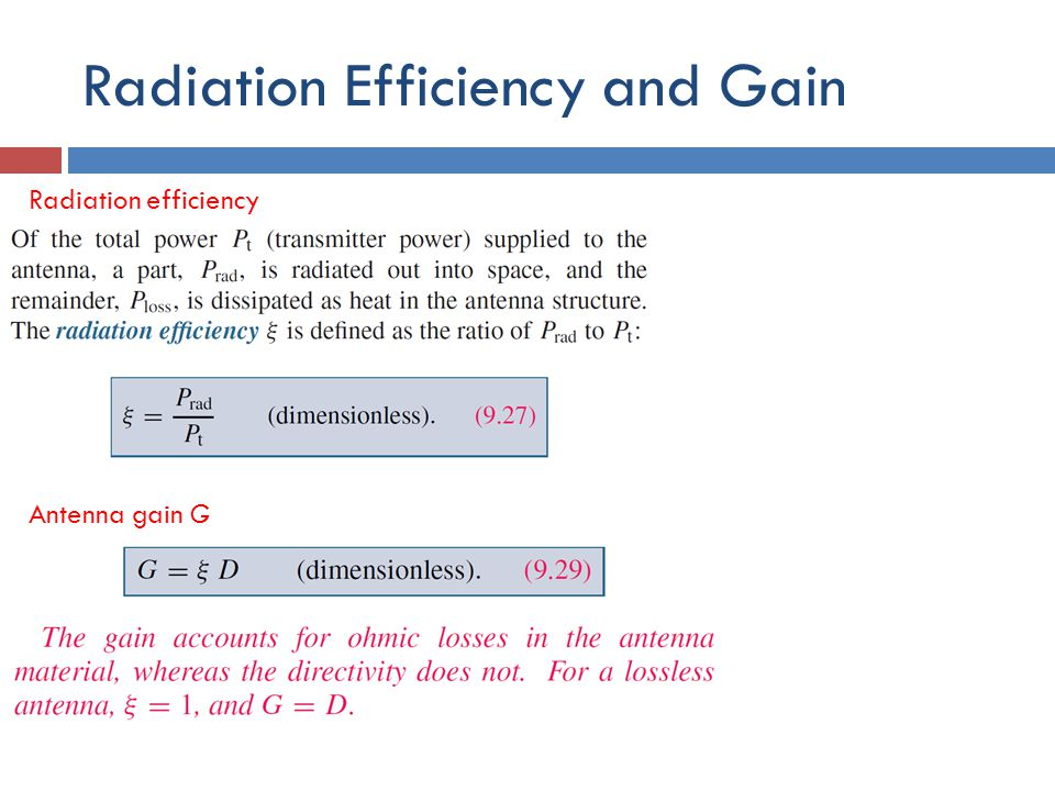 Radiation Efficiency and Gain