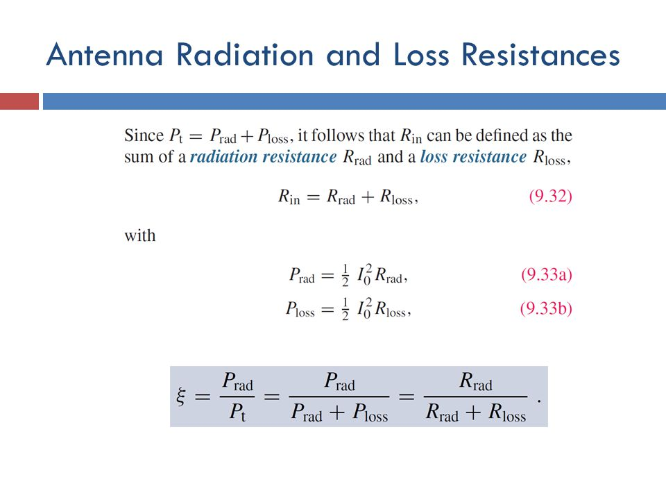 Antenna Radiation and Loss Resistances