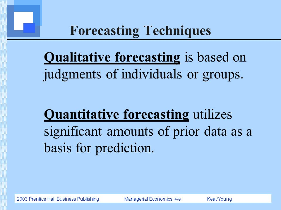 forecasting techniques Depending on who you speak with, nearly every sales manager has her or his  own unique sales forecasting method forecasting techniques range from.
