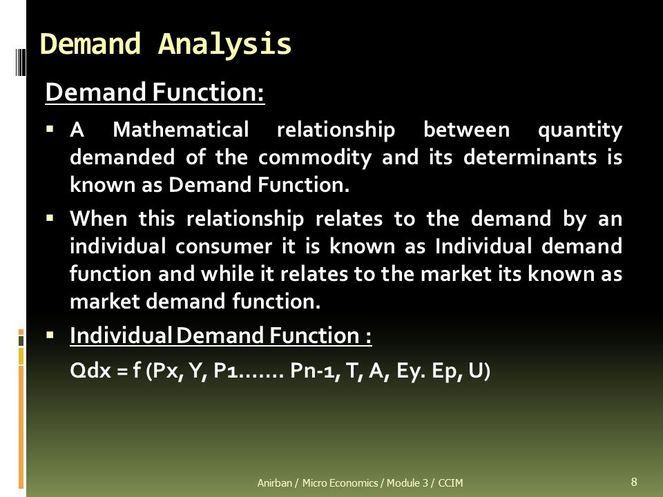 an analysis of the market and individual demand by consmuers Market demand is a series of various quantities of a product or service that consumers in a given market are able and willing to purchase the following chart shows the individual demand curves as well as the market demand curve the points on individual and market demand curves have.