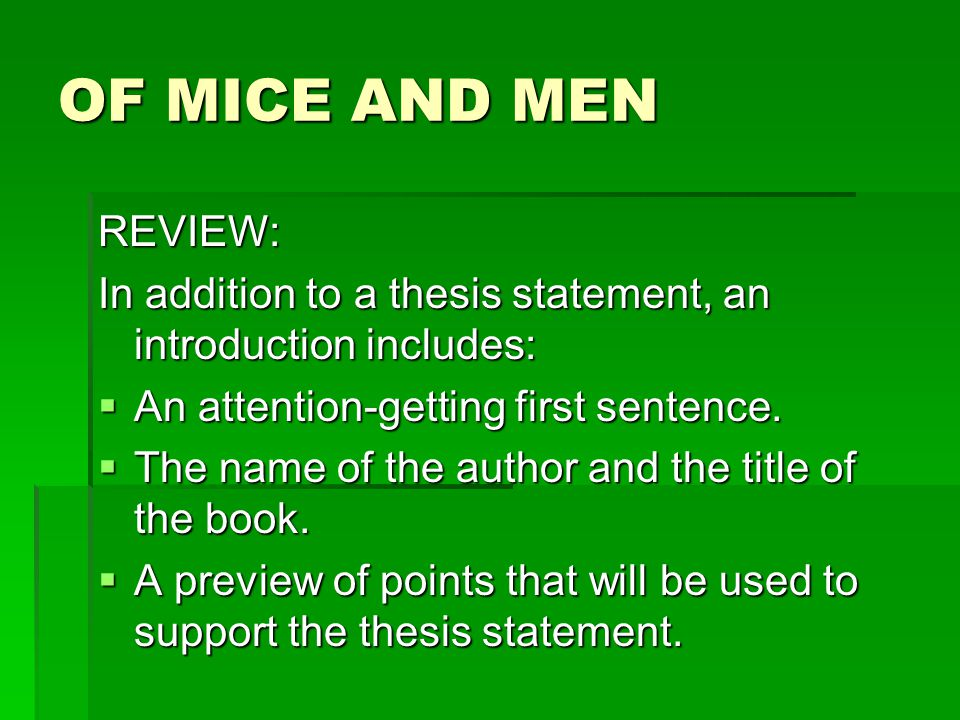 essay plans for of mice and men Compare and contrast 'of mice and men' and 'the pearl' looking especially at how the main characters in the books lived in poor conditions kino and juana and lennie and george had little money, but the characters are strong in the novels as a result the hardship they had suffered and endured made them stronger as characters.