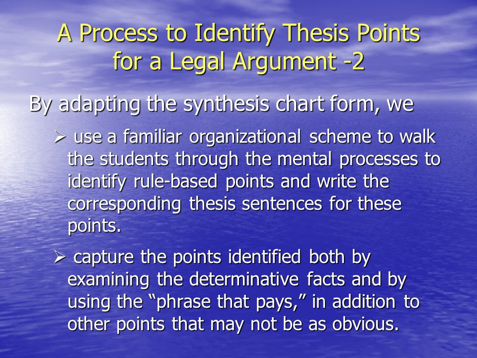 thesis points Bankers and other investors may not have the scientific or technical expertise to understand the intricacies of your company's products, and they might be reluctant to loan money on a project they do not understand solve this problem by writing a thesis the thesis and forecasting statements are your chance to pique.