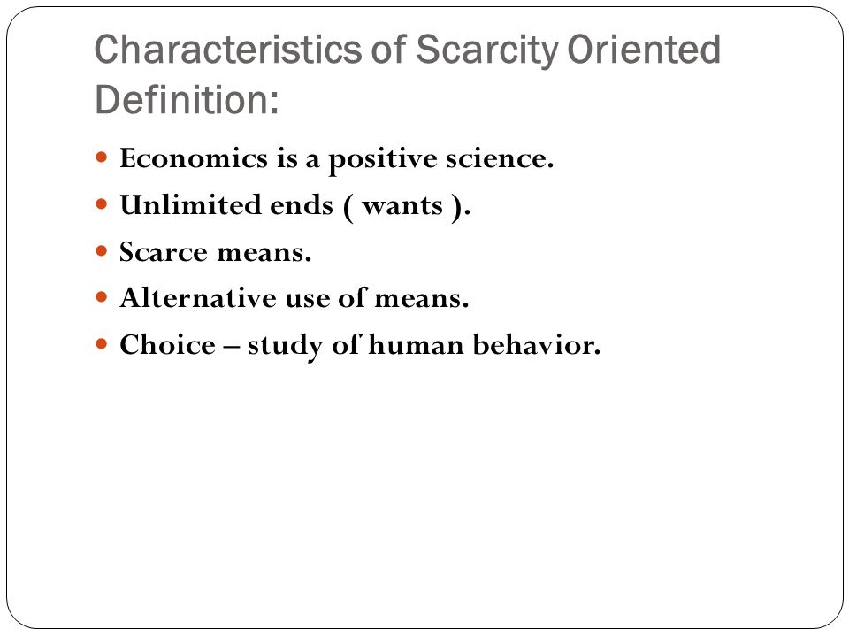 an analysis of economics a science that specializes on the concept of scarcity A the student needs a basic understanding of graphical analysis to be able to  learn  thus, scarcity is fundamentally the most important concept in economics,  upon  the scientific method is a process that attempts to objectively learn truth .