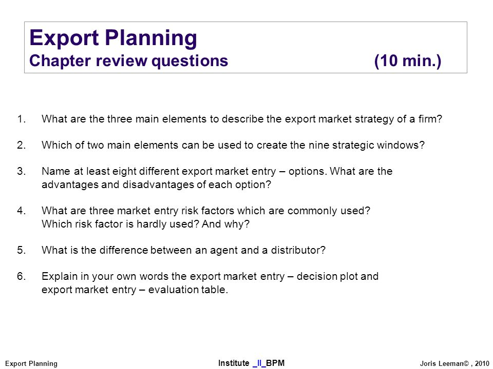 how to create an export plan