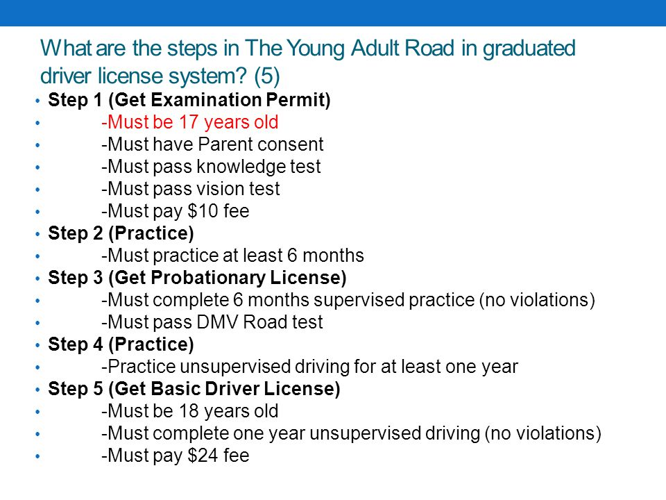 What are the steps in The Young Adult Road in graduated driver license system (5)