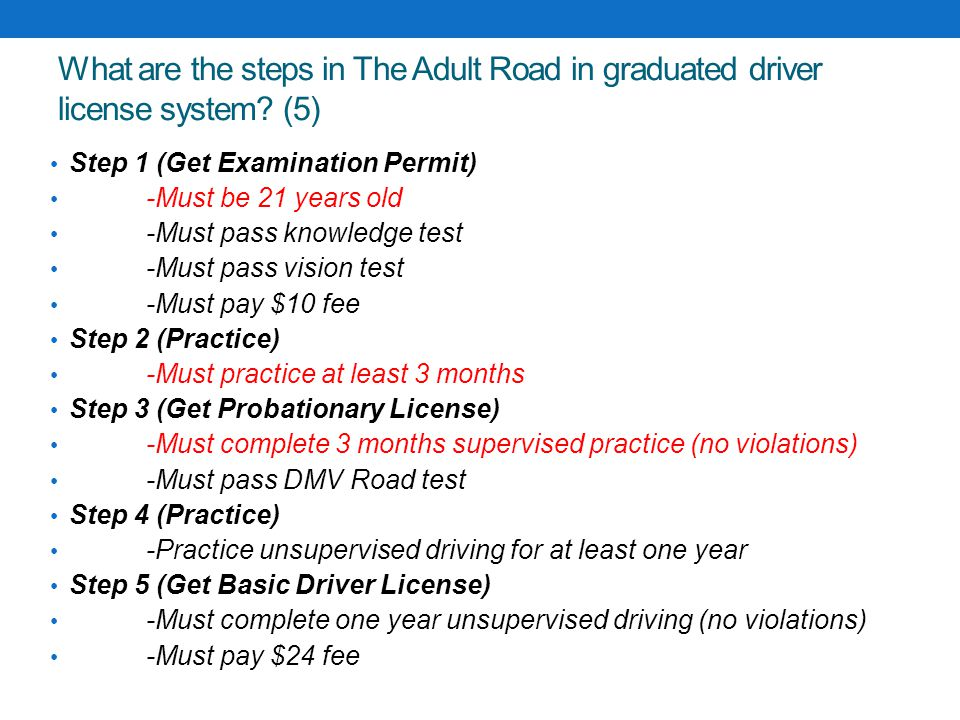 What are the steps in The Adult Road in graduated driver license system (5)