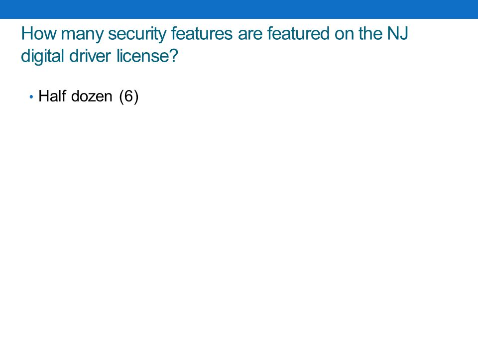 How many security features are featured on the NJ digital driver license
