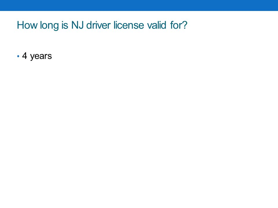 How long is NJ driver license valid for